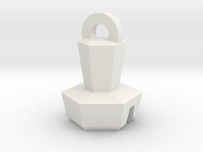Platinum Bolt Keychain in White Natural Versatile Plastic