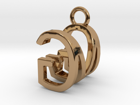 Two way letter pendant - GM MG in Polished Brass