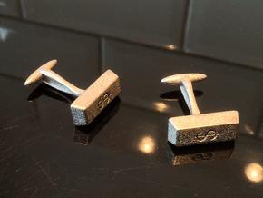 Goldbar Cufflinks $ engraving in Polished Nickel Steel