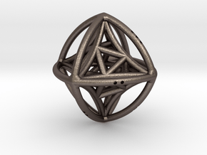 Double Octahedron with included Icosahedron in Polished Bronzed Silver Steel