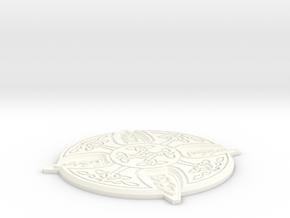 Celtic Design Coaster in White Processed Versatile Plastic