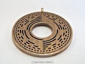 BitWheel Pendant in Polished Bronzed Silver Steel