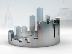 (Size 8) Detroit Skyline Ring in Fine Detail Polished Silver
