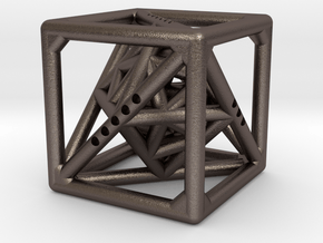 Cube with Tetrahedron, Octahedron and Icosahedron  in Polished Bronzed Silver Steel