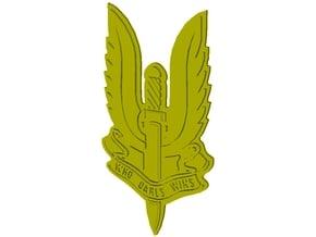"British SAS 22nd regiment ""Who Dares Wins"" badge in Smooth Fine Detail Plastic"