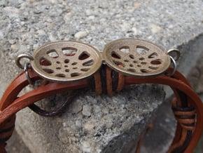 """Double Seconds """"essence"""" steelpan bracelet charm in Polished Bronzed Silver Steel"""