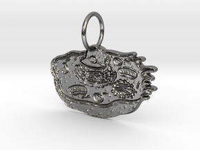 Animal Cell Pendant in Fine Detail Polished Silver