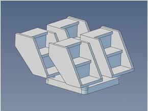GTW Ctr Cupola Van Step X 4 HO in Smooth Fine Detail Plastic