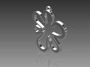 Flower Pendant in Fine Detail Polished Silver