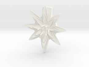 Flat Lily Pad Flower Pendant customizable in White Processed Versatile Plastic
