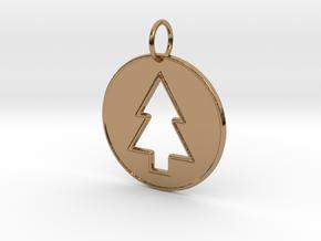 Gravity Falls Pine Tree Pendant in Polished Brass
