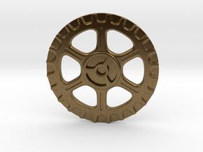 Steampunk Button A in Natural Bronze