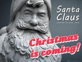 Santa Claus portrait. 15 cm tall in White Processed Versatile Plastic