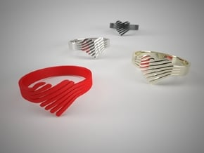 Faded heart Ring Size 6 in Red Processed Versatile Plastic