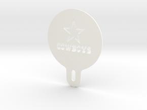 Cowboys Cappuccino / Latte / Coffee Stencil in White Processed Versatile Plastic