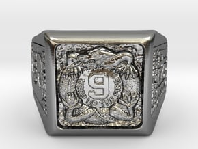 9th Infantry Regiment Manchus Ft. Ord, CA Square R in Polished Silver: Extra Large
