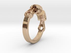 Ring Biker  in 14k Rose Gold Plated Brass