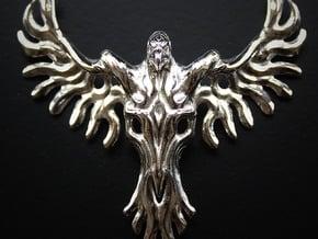 Rebirth Phoenix & Bull Skull Pendant: Small in Polished Silver