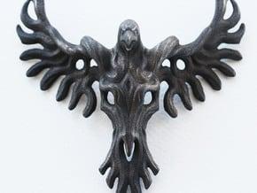 Rebirth Phoenix & Bull Skull Pendant: Large in Polished and Bronzed Black Steel