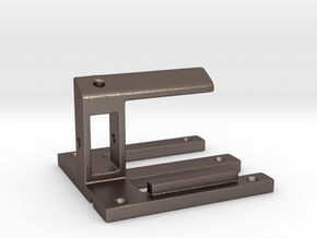 Cell phone holder for desk in Polished Bronzed Silver Steel