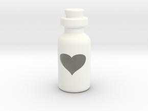 Small Bottle (heart) in White Processed Versatile Plastic