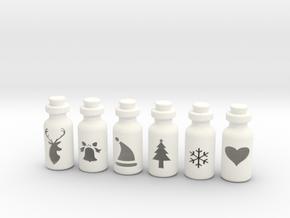 Small Bottles in White Processed Versatile Plastic