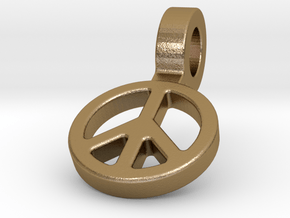 World Peace in Polished Gold Steel
