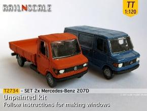 SET 2x Mercedes-Benz 207D (TT 1:120) in Smooth Fine Detail Plastic
