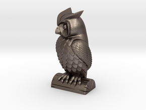 Owl statue  in Polished Bronzed Silver Steel