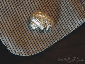 Anatomical Brain Cufflinks in Polished Silver