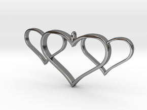 3 Heart Pendant in Fine Detail Polished Silver