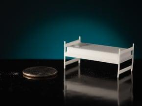 1:48 Twin Dorm Bed in White Natural Versatile Plastic