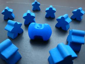 Three sided die in Blue Processed Versatile Plastic