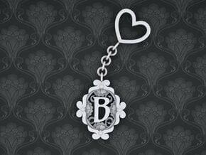 B Keychain Art Nouveau  in White Natural Versatile Plastic