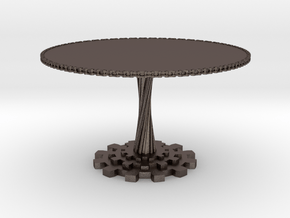 1:12 scale miniature industrial art table in Polished Bronzed Silver Steel