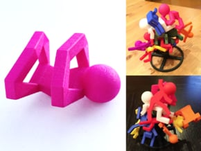 Board Game 'Tsumi Yoga' Block#1 in Pink Processed Versatile Plastic
