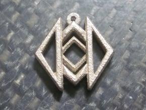 Geometric Design Pendant in Polished Bronzed Silver Steel