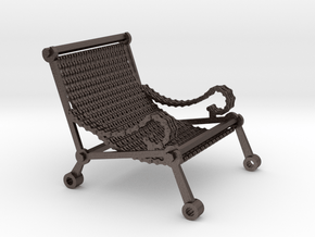 1:12 scale miniature industrial art chair in Polished Bronzed Silver Steel