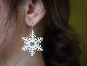 Interlaced Snowflake Earrings in White Processed Versatile Plastic