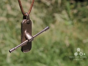 Staff Pendant in Polished Bronzed Silver Steel