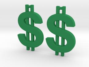 Money Symbol Earrings in Green Processed Versatile Plastic