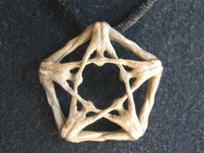 Pentaman pendant - Naked Geometry in Polished Bronzed Silver Steel