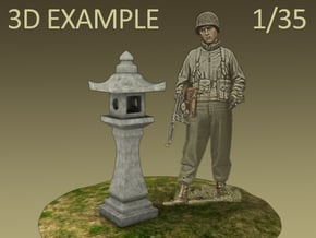 Japanese Stone Lantern (1:35) in White Natural Versatile Plastic
