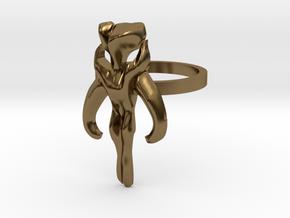 3d Star Wars Mandalorian, Size 9 in Polished Bronze