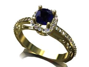 Cushion Cut Halo Ring in Smooth Fine Detail Plastic