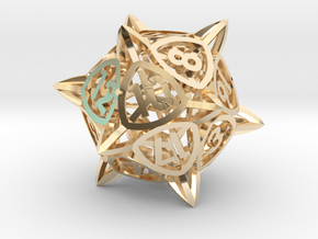 'Center Arc' dice, D20 balanced gaming die in 14k Gold Plated Brass