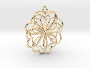 Hearts Flower in 14k Gold Plated Brass
