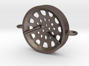 """Low Tenor """"Void"""" steelpan bracelet in Polished Bronzed Silver Steel: Small"""