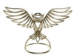 WireFrame Owl in Polished Gold Steel