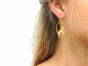 Cute Monkey Earrings in 14k Gold Plated Brass